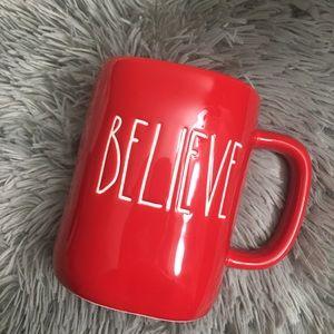Rae Dunn Believe Red Mug